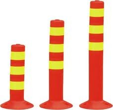 PE Bollards with Green Reflective Strips